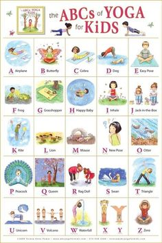 ABC yoga for kids. Learning the ABC and learning poses for yoga! Yoga For Kids, Exercise For Kids, Kids Yoga Poses, Stretches For Kids, Children Poses, Young Children, Summer Classes For Kids, Morning Stretches, Morning Yoga