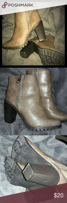 """EUC Cute Olive Green Heeled Booties Gently used a few times, great condition. Not leather, but looks it. Color is closest to 2nd pic, even a little darker olive. Has zippers on each side of bootie, and a """"rugged"""" bottom, giving it a nice combination of street chic and elegance. Silver tone zippers. Has 2 spots of wear on heels shown in 3rd picture. Has slight mark on toe of left bootie shown in 4th picture. Size 9, true to size. Does not come with original box. From bottom to top of bootie…"""