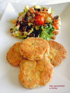 Aprendiendo a Cocinar: TORTITAS DE PATATA Y ATUN CON ENSALADA TEMPLADA #cometelo