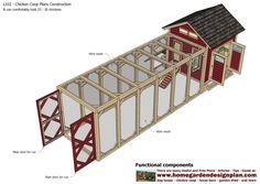 home garden plans: L102 - Chicken Coop Plans Construction - Chicken Coop Design - How To Build A Chicken Coop Mobile Chicken Coop, Portable Chicken Coop, Backyard Chicken Coops, Diy Chicken Coop, Chickens Backyard, Large Chicken Coop Plans, Chicken Coup, Chicken Garden, Chicken Coop Designs