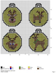 REINDEER ORNAMENTS by ADEL DURANT Plastic Canvas Coasters, Plastic Canvas Ornaments, Plastic Canvas Crafts, Plastic Canvas Patterns, Plastic Craft, Xmas Cross Stitch, Beaded Cross Stitch, Cross Stitching, Cross Stitch Patterns