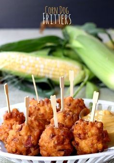 Corn Dog Fritters - Made with fresh corn and hot dogs in a sweet, fritter batter.