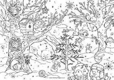 Christmas Colouring Card - Christmas Woods