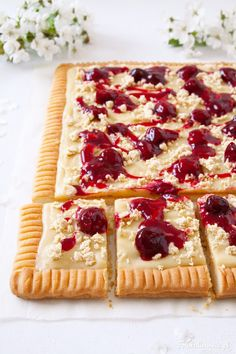 Halva, White Chocolate and Cherry Shortbread, called Mazurek - traditional Polish Easter Cake. Polish Easter, Sweet Pie, Shortbread, White Chocolate, Waffles, Cherry, Cooking Recipes, Yummy Food, Treats