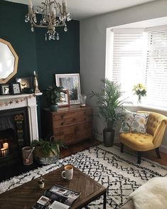 Where I like to live Warm, medium-light wooden floor; Turquoise walls replace chimneys and neutral t Living Room Green, Home Living Room, Interior, Home Decor, Room Inspiration, House Interior, Room Decor, Living Decor, Living Room Designs