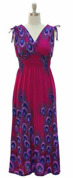 Womens Size MEDIUM 8/10 Plum Peacock Maxi Dress Shoulder Ties Jon Anna New York - Dresses