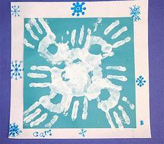 Handprint Snowflake, Winter Theme for Preschoolers, Preschool Snow Theme