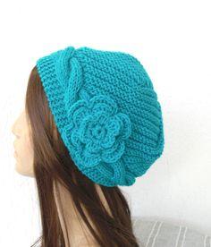 Hand Knit hat Slouchy Beanie Victorian Hat Cloche by Ebruk