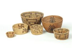SIX AMERICAN INDIAN BASKETS.  First half-20th century. Probably Pima/Papago with dark woven designs on a lighter ground #indian