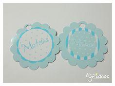 Tags de agradecimento para ch� de beb�. <br>Podemos personalizar com o nome, nome   data ou as escritas que quiser. <br>Para outras cores, consulte-nos! <br>Valor por tag. Enviamos sortidas nos modelos da foto.