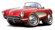 Muscle Car Cartoon Art   Details about 1956-57 Corvette Muscle Car Art Cartoon Tshirt FREE