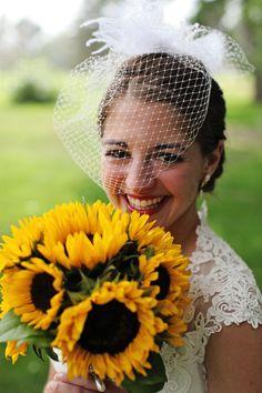 Sunflower bouquet. bridal bouquet. Denver Wedding Photographer. Bridal portrait. birdcage veil. vintage bride.  www.kathrynbowenphotography.com