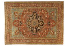 One Kings Lane - Instant Classic - Serapi Rug, Rust/Sky