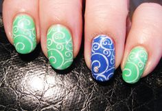 blue green lace stamped summer nails