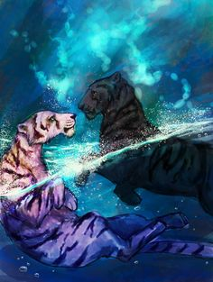 Afterlife by Esnym from deviant art Funny Animal Pictures, Pictures Images, Funny Animals, Big Cats Art, Cat Art, Tiger Love, Tiger Art, Cute Backgrounds, Artwork Design
