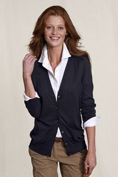 I like the look of a crisp white blouse with a collar and a cardigan.  I wouldn't want a cardigan that ends at the waist, I like the hlp length on this.  I like the overall look of the outfit.