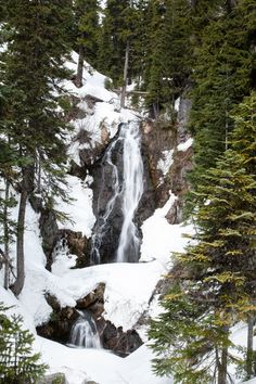 Sahalie Falls from the Mt. Hood Meadows Westside Trail.- Snowshoeing on Mount Hood