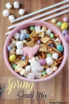 Spring Snack Mix. Great for an Easter party or spring party. My kids love this treat!