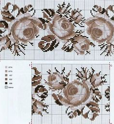 Cross Stitch Rose, Cross Stitch Flowers, Cross Stitch Embroidery, Embroidery Patterns Free, Cross Stitch Patterns, Needlework, Floral, Farmhouse Rugs, Cross Stitch Landscape