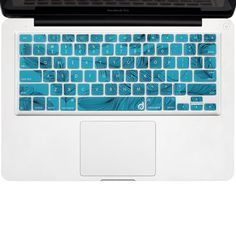 """Masino® Silicone Keyboard Cover Ultra Thin Keyboard Skin for MacBook Air 13"""" MacBook Pro with or without Retina Display 13""""15"""" 17"""" Apple Wireless Bluetooth Keyboard MC184LL/B(US Version) (Feather- Turquoise Blue Feather in White): Amazon.ca: Office Products"""
