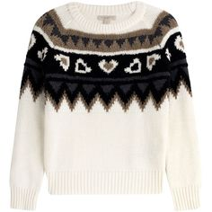 Burberry Brit Wool-Cashmere Pullover (965 BAM) ❤ liked on Polyvore featuring tops, sweaters, blusas, jumpers, multicolor, print sweater, white sweater, white cashmere sweater, wool pullover and cream sweater