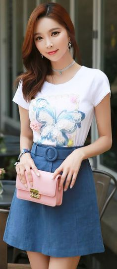 StyleOnme_Circle Belt A-Line Skirt #blue #skirt #cute #feminine #girly #everyday #butterfly #tee #koreanfashion #kstyle #summer