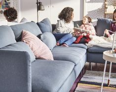 The angle of a corner sofa creates a large surface, inviting people to pull up their feet and sit close together. Corner Sofa, Plywood, Couch, Pillows, Living Room, Bed, Alba, Furniture, Apartment Ideas