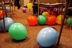 Balloon Pop-each team pops their color to find clues in a scavenger hunt