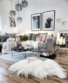 Living Room Inspo ✨ The home of . - Living Room Inspo ✨ The home of . - Your bedroom flooring is actually important. Blush Living Room, Pastel Living Room, Living Room Decor Cozy, Living Room Carpet, Living Room Grey, Home Living Room, Apartment Living, Living Room Designs, Living Room Ideas With Grey Couch