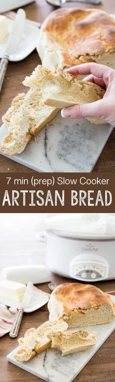 7 minutes prep time is all you need for this slow cooker artisan bread