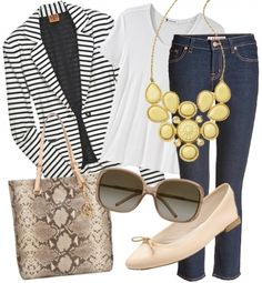 Outfit combination - striped blazer with jeans and white shirt.