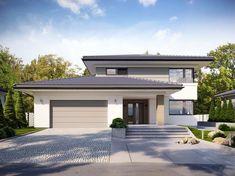 Visualization of TP Korso 2 CE Source by Minimal House Design, Unique House Design, Dream Home Design, Contemporary House Plans, Modern House Plans, Split Level House Plans, Double Storey House, Beautiful House Plans, Storey Homes