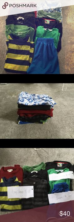 10 boys shirts and sweaters- sizes 8-12! 10 boys tshirts, sweaters, one collared shirt, and one pair of shorts. One of these shirts is from the LONDON OLYMPICS! Most of the shirts are size 8-10, and two of them are 10-12. Flexible with the price if your offer is reasonable! Cherokee Shirts & Tops
