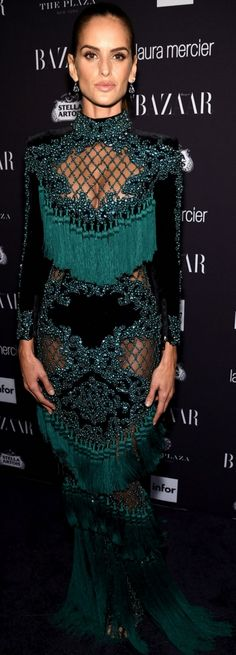 Who made Izabel Goulart's green fringe gown? Dress – Balmain
