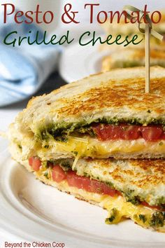 Tomato Recipes Pesto Grilled Cheese are gourmet grilled cheese sandwiches made with pesto, garden fresh tomatoes and two kinds of cheese! via - Grilled cheese sandwich with pesto, tomatoes, Gouda and Parmesan cheeses. Grilled Sandwich Recipe, Healthy Sandwich Recipes, Panini Recipes, Gourmet Sandwiches, Healthy Sandwiches, Delicious Sandwiches, Lunch Recipes, Recipes With Pesto, Healthy Food
