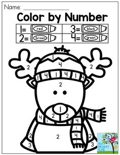 Color by Number Reindeer- So cute! My kids just love this!