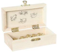 Bartl, Schweinewürfeln Deluxe, Fünf goldene Gummischweinchen in einer Holzbox zum würfeln | 103806 / EAN:4032821014115