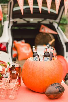 Tailgaiting fun - pumpkin drink cooler