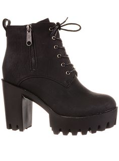 Put Some Stomp In Your Step Platform Boots by Fahrenheit Shoes, Shoes, Black