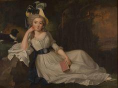 Portrait d'une femme dans une pose pensive, avec un chien et un livre, 1775 Carlton Hobbs