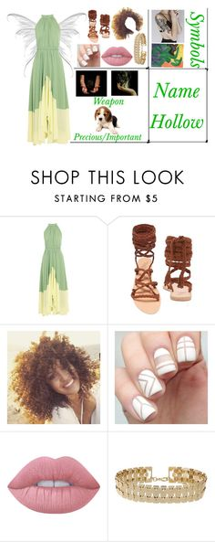 """""""Name Hollow The Terra Fairy (OPEN}"""" by kaninekiller ❤ liked on Polyvore featuring Saloni, Ancient Greek Sandals, Lime Crime and Miss Selfridge"""