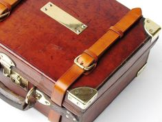 James Purdey Vintage Cartridge Ammunition Case Oak Leather Brass Bound