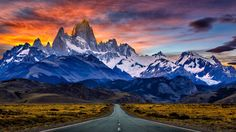 """Monte Fitz Roy is a mountain in Patagonia, on the border between Argentina and Chile. It is located in the Southern Patagonian Ice Field, near El Chaltén village"" Sunset Wallpaper, Landscape Wallpaper, Hd Wallpaper, Wallpapers, Parc National Torres Del Paine, Wallpaper Paisajes, Mountains In South America, Patagonia Mountains, Backgrounds"
