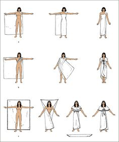 Figure 2.12 Suggested ways of draping some items of Egyptian wrapped costume: (a) The wraparound garment for men or women; (b) and (c) two alternatives  for creating a woman's draped gown.Tortora, P. G. & Eubank, K. (2010). Survey of Historic Costume, 5th Ed. Fairchild Publications