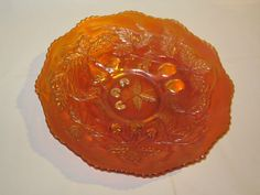 Northwood three fruits pumpkin color CARNIVAL GLASS plate in mint condition 9 inches