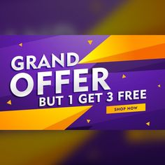 Purple discount voucher with yellow geometric shapes Free Vector