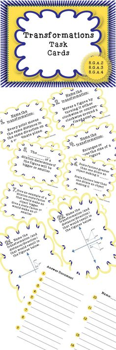 24 Transformation Task Cards! Addresses the 8th Grade common core standards.