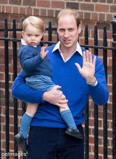 A wave from Prince George as he is taken to see his new baby sister by Prince William