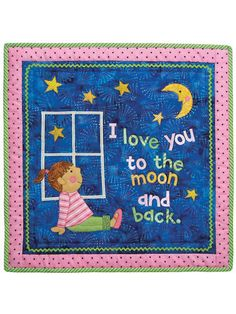 """This delightfully detailed small baby quilt or wall hanging will be the star of the nursery.   Our Love You to the Moon quilt pattern is sure to become a keepsake. The baby quilt is the perfect way to convey your love for your little one. Pattern includes the pieces needed to adapt the pattern for either a little girl or boy. Finished quilt size is 24"""" x 24""""."""