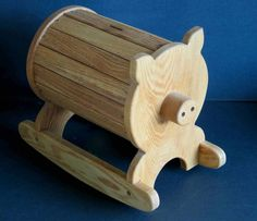 """15.5"""" Large Wooden Rocking Pig Piggy with Coin Bank Slot"""